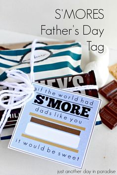 Smores Fathers Day Tag and gift idea! Simple Father's day gift idea the kids will enjoy putting together!
