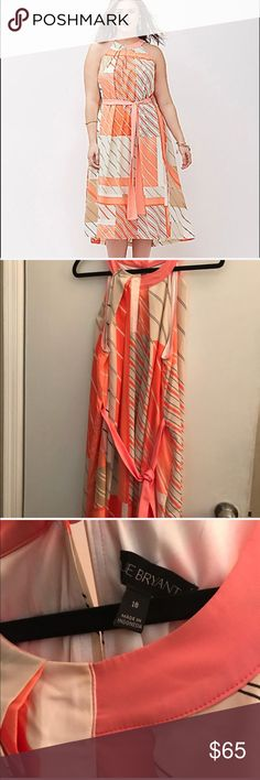 "Lane Bryant peach flowy dress Dress is like new tried on once never wore has arm cover up both are size 18 from lane Bryant paid well over $100 for both items I am 5'3"" dress hits at my feet like new without tags Lane Bryant Dresses Maxi"