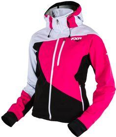 FXR Womens Mission Soft Shell Hoodie Snowmobile Jacket ~ Black/Fuchsia ~ 16