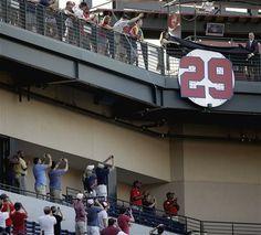 No. 29 John Smoltz former pitcher of the Atlanta Braves retirement ceremony