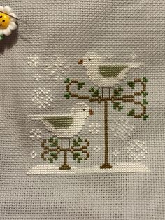 Finish #30 for 2015 - Snow Birds by Country Cottage Needleworks.  Just Cross Stitch Ornaments Magazine, Xmas 2013 Issue.