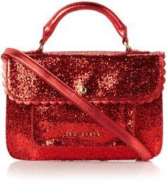 Ted Baker red glitter satchel bag.