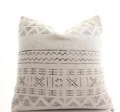African White Mudcloth Boho Pillow Cover Ethnic by BohoPillow
