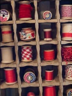 # RED Thread storage, love this showcasing the vintage threads and spools. I must find a heap in a single colour family--great idea ! Thread Storage, Ribbon Storage, Sewing Crafts, Sewing Projects, Spool Crafts, Vintage Sewing Notions, Red Hen, Red Cottage, Wooden Spools