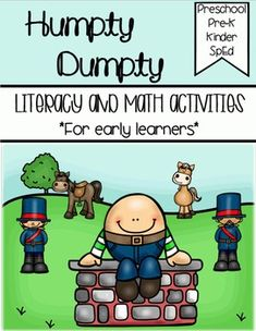 Humpty Dumpty - Literacy & Math for Early LearnersNursery Rhyme activities with differentiated writing sheets.! Perfect for preschool, Pre-k, Kindergarten, and Special Education.Items included:Book to color (pgs. 5-7)Book to illustrate (pgs. 8-10)Trace the nursery rhyme (pg. 11)Sequencing (pg. 12)Label the rhyme (pg. 13)Make the sentence (pg. 14)Write the room cards to hang (pgs. 15-16)Recording sheet- trace (pg. 17)Recording sheet- write (pg. 18)Color by number (pg.19)Which is more? ...