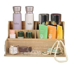 Bathroom Organization: EtechMart Wooden Decorative Countertop Cosmetic Organizer Box Makeup Storage * Continue to the product at the image link.