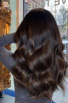 Hair Color For Black Hair, Brown Hair Colors, Dark Brunette Hair, Brunette Hair Colors, Chocolate Brunette Hair, Dark Chocolate Hair, Brown Hair Balayage, Dark Balayage, Dark Hair With Highlights