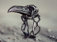 Raven skull ring  by CharlotteSteampunkManufacture