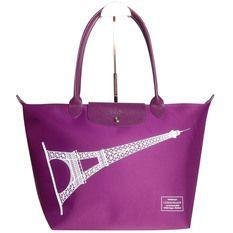 Longchamp Eiffel Tower Neo Le Pliage Large Long Handle Tote Bag (Violet)