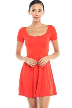 2LUV Womens Short Sleeve Scoop Neck Fit  Flare Skater Dress Red L * Find out more about the great product at the image link.