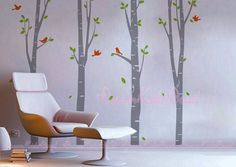 Tree wall decal sticker perfect for your nursery or kids room !    Each tree measures 260cm(102) tall. You can adjust the wide per your wall size.