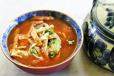 Tortilla Soup with Chicken and Lime Recipe | Epicurious.com