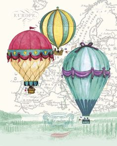 Vintage Air Balloon Adventure Art Print at AllPosters.com