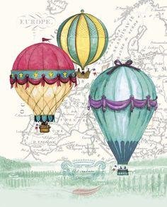 Vintage Air Balloon Adventure Canvas Art - Hope Smith x Air Ballon, Hot Air Balloon, Balloon Illustration, Vintage Air, Painting Inspiration, Paper Art, Canvas Art, Art Prints, Drawings