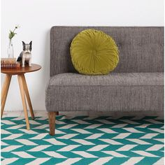 Herringbone rug with gray sofa in love!