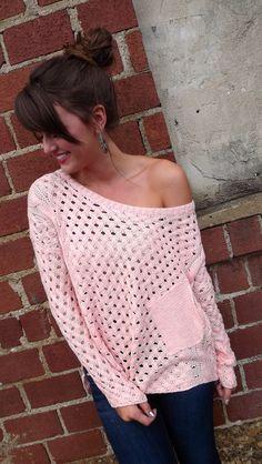 Peach Pocket Oversized Sweater