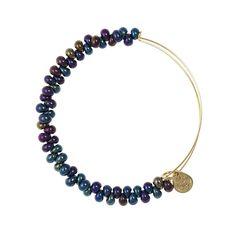 Caviar Bead Expandable Wire Bangle. Midnight Blue - Yellow Gold - Single Embellished Bangles - Bracelets