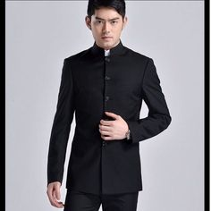 245ee53dda1 Details about Men s Blazer Coat Chinese Tunic Suit Stand Collar Jacket  Trench Single Breasted