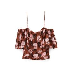 Monette Georgette Top ($120) ❤ liked on Polyvore featuring tops, ganni, crop top, georgette tops, brown crop top, brown top and monette
