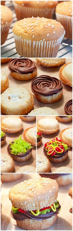 """Juicy Lucy"" Burger Cupcakes (chocolate icing for cupcakes) Cupcake Recipes, Cupcake Cakes, Dessert Recipes, Yummy Treats, Delicious Desserts, Sweet Treats, Choses Cool, Juicy Lucy, Yummy Cupcakes"