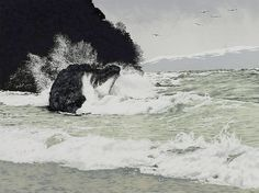 """Gale Warning by Elisabeth Sommerville Stone lithograph ~ 18"""" x 24"""""""