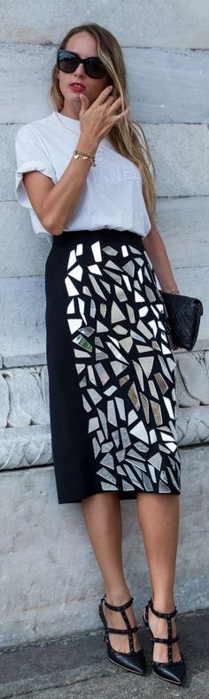 The Ugly Truth Of V White Basic Tee Printed Pecil Skirt Black Rockstuds Fall Inspo #Fashionistas