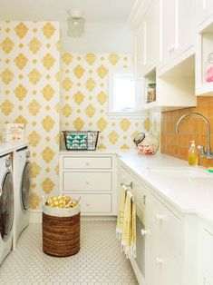Bright and cheerful wash room with all kinds of storage.!