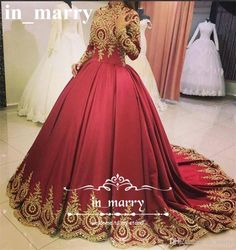 Red Muslim Arabic Ball Gown Evening Dresses with Gold Lace Appliques 2017 High Neck Long Sleeves Plus Size Islamic Formal Prom Party Gowns Ball Gown Evening Dresses Arabic Evening Dresses Plus Size Evening Dresses Online with $243.43/Piece on In_marry's Store | DHgate.com