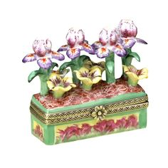 Iris and Pansy Limoges Jardiniere Box | Limoges Boxes | Handpainted Porcelain | Collectables | ScullyandScully.com