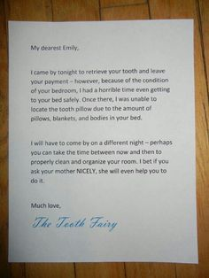 Tooth fairy couldn't find the tooth in the messy room???  She will come back another night......Guess that kid will clean up her room.