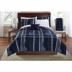 Mainstays Teen Modern Geometric Plaid Navy Blue Reversible Bedding Queen Comforter for Boys