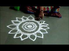 Easy Rangoli by Kshama How to draw free hand rangoli Small Rangoli Designs Rangoli at the door - YouTube