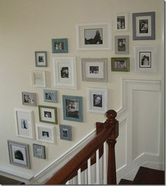 DIY Home : DIY Picture Frame Gallery Wall (diy wall decor) Love the Greys, blues and white color scheme! Frame Wall Collage, Gallery Wall Frames, Frames On Wall, Collage Picture Frames, Collage Ideas, White Frames, Gallery Walls, Painted Frames, Art Frames