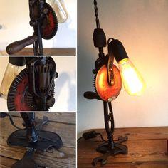 La chignole  en vente sur AlittleMarket #lampesoriginales #lampe #lamp #deco #decoration #vintage #recyclage #recycled #recup #diy #creation #industrialdesign #industrial #industriel #home #vintagelamp #homedecor #loft #jtelen #automobile #voiture #automotive #scie #charpentier #menuiserie #scie #outils #decor #desklamp #tablelamp # toolsdeco