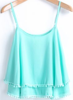 Green Spaghetti Strap Double Layers Chiffon Vest 14.33