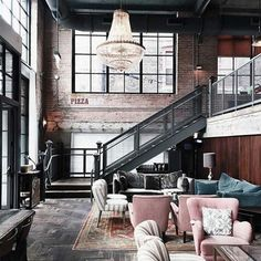 Industrial Style Loft with charming elements to add to your home decor. A breath of fresh air into your industrial style loft. In an industrial style world, the interior design project of today will m Industrial Interior Design, Vintage Industrial Decor, Industrial Interiors, Industrial House, Home Interior Design, Interior Architecture, Industrial Lighting, Modern Industrial, Industrial Bedroom