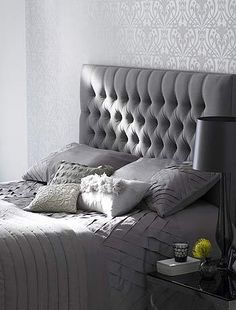 grey bedroom headboard guest gray shades splendour general inspiration спальня bed decor uktv gris источник uploaded user capitone rooms houseoffraser