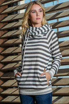 Striped Cowl Neck Hoodie with Suede Elbow Patches
