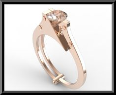 Rose Gold Handcuffs Engagmenet Ring With by Vidarjewelry on Etsy, $1500.00