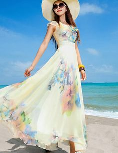 Bohemia Flouncing Collar Watercolor Floral Printed Maxi Dress - Product #1326323 - ClothesCheap.com