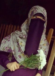 Beautiful Sister in Purple Niqab and Abaya with a Delicate Floral Hijab