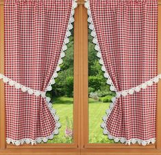 red vichy curtain red vichy curtain Shower curtains, bed bathIve always wanted a Trendy bathroom window Vintage Kitchen Curtains, Kitchen Curtain Sets, Cortinas Country, Kitchen Shades, Rideaux Design, Window Cornices, Curtain Designs, Drapes Curtains, Cream Curtains