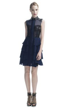 Jason Wu Tiered Combo Button Front Sleeveless Dress