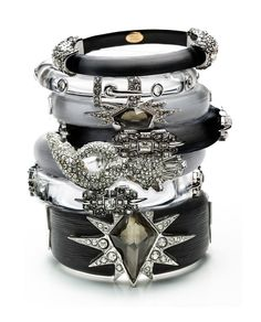 Black and silver and gold and just the right amount of glitter in a single stack . . .