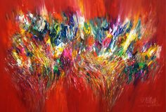 Vitality Red XL 1  In this dynamic and colorful painting the intense red tones are decisive. The abstract artwork has a positive and playful atmosphere with a high expressive power.