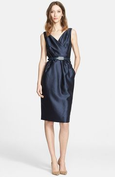 Nordstrom Signature and Caroline Issa Wrap Detail Wool & Silk Dress available at #Nordstrom