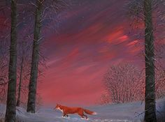 A fox out on a twilight prowl. Acrylics. #fox #foxes #vulpesvulpes #renard #twilightscapes #twilight #dusk #landscape #paintingoftheday