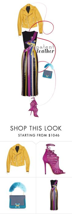 """""""Emilio Pucci Sequined Striped Midi Gown"""" by esterp ❤ liked on Polyvore featuring Balenciaga, Jimmy Choo, Anya Hindmarch, Emilio Pucci, jimmychoo, emiliopucci, gown, patentleather and AnyaHindmarch"""
