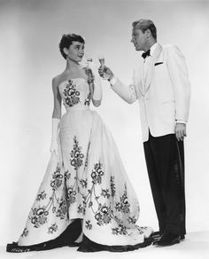 Audrey Hepburn and William Holden / 'Sabrina' / 1953  // Gown by Givenchy.