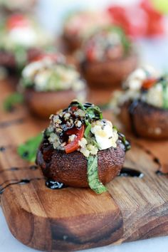 Caprese Quinoa Grilled Stuffed Mushrooms with Balsamic Glaze: left out the cheese to keep vegan. Loved that these were light and fresh rather than loaded with meat and cheese! (2.4.14)-Leah
